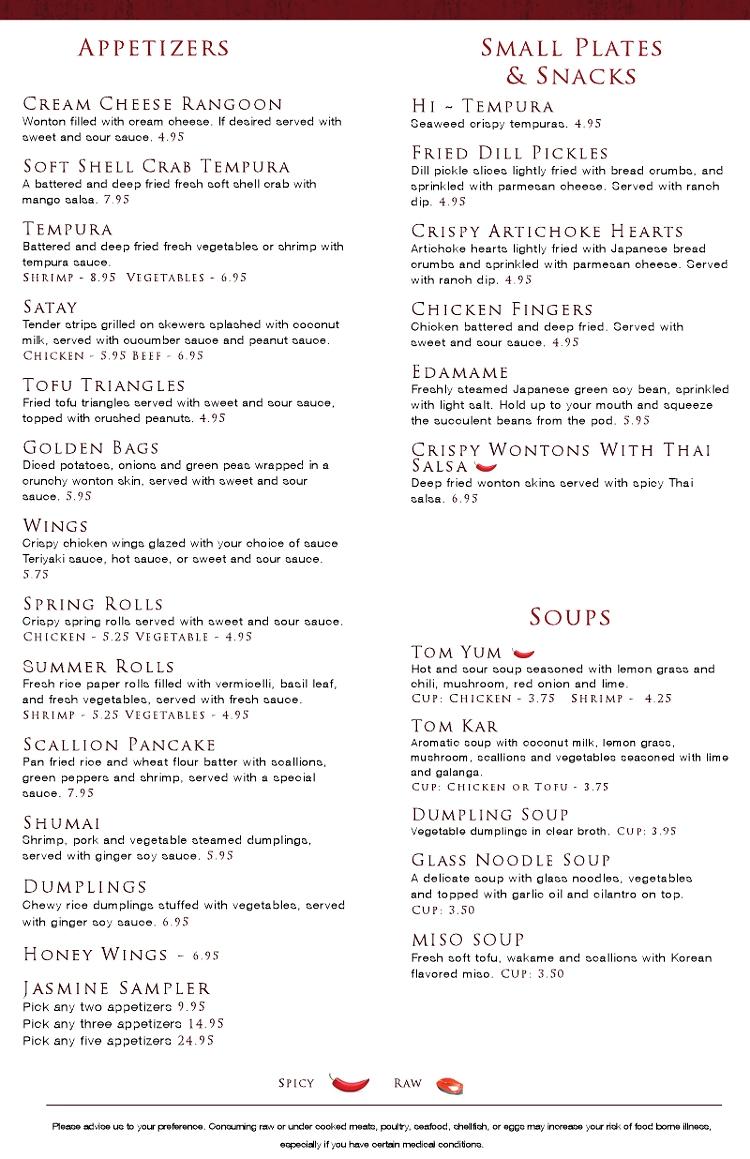 Jasmine Thai Restaurant Menu