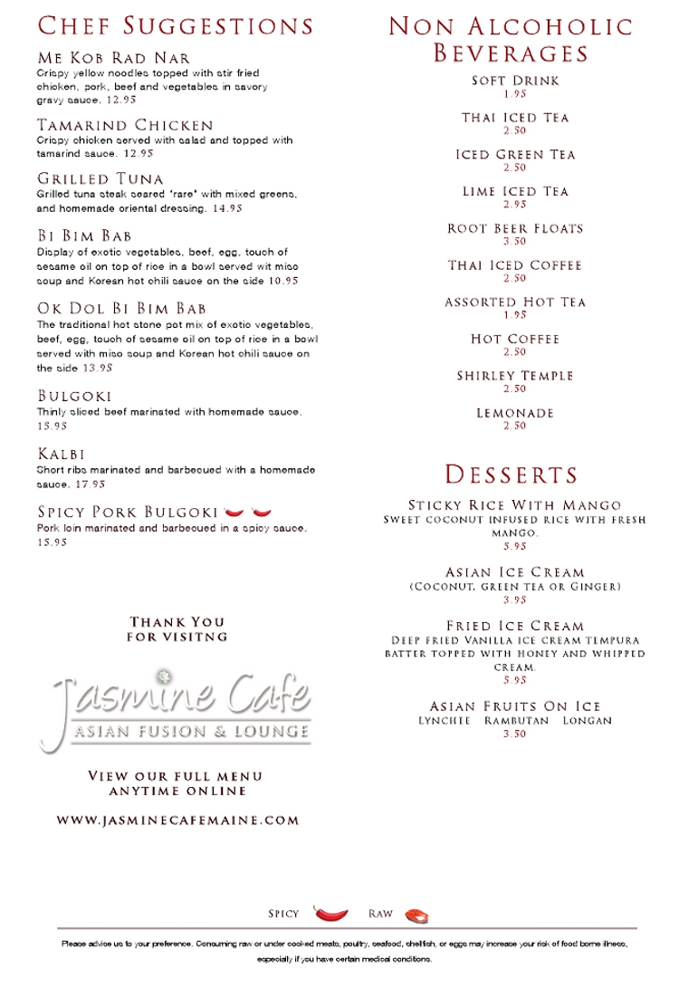 Jasmine Cafe Asian Fusion Thai Auburn Maine Restaurant Menusinla