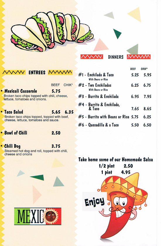 South Of The Border Mexican Restaurant Lewiston Maine Menu Pg2
