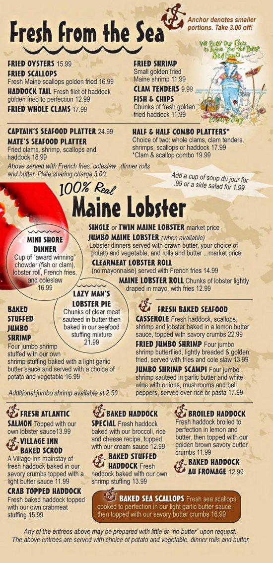 The Village Inn Seafood Restaurant Auburn Maine Menu