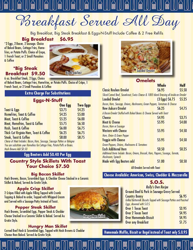 Rollys Diner Auburn Maine Menu Breakfast