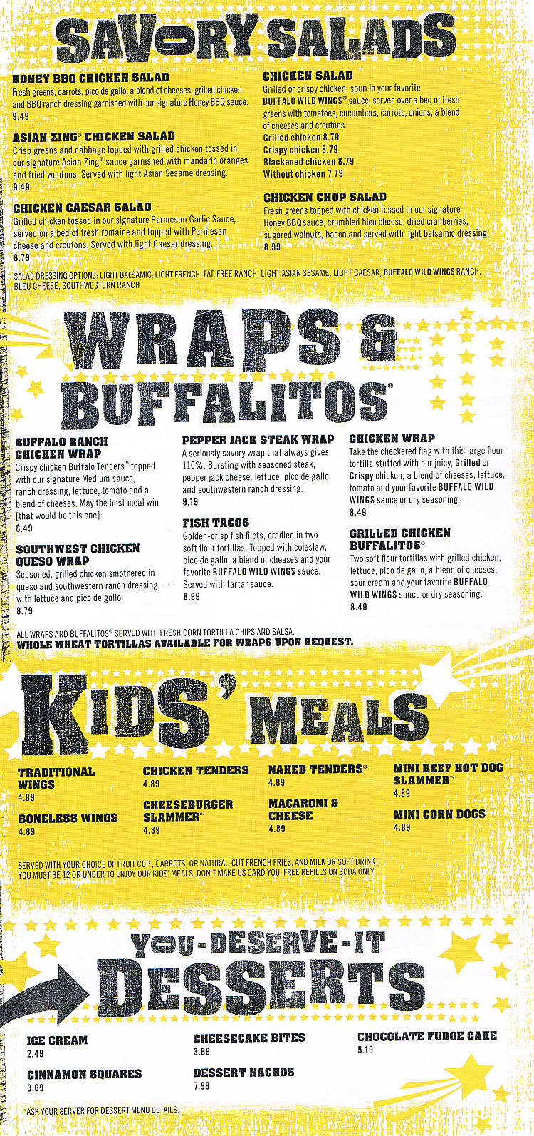 buffalo wild wings menu - auburn maine - menusinla - lewiston